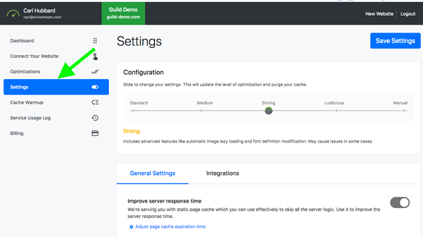 Nitropack - select settings